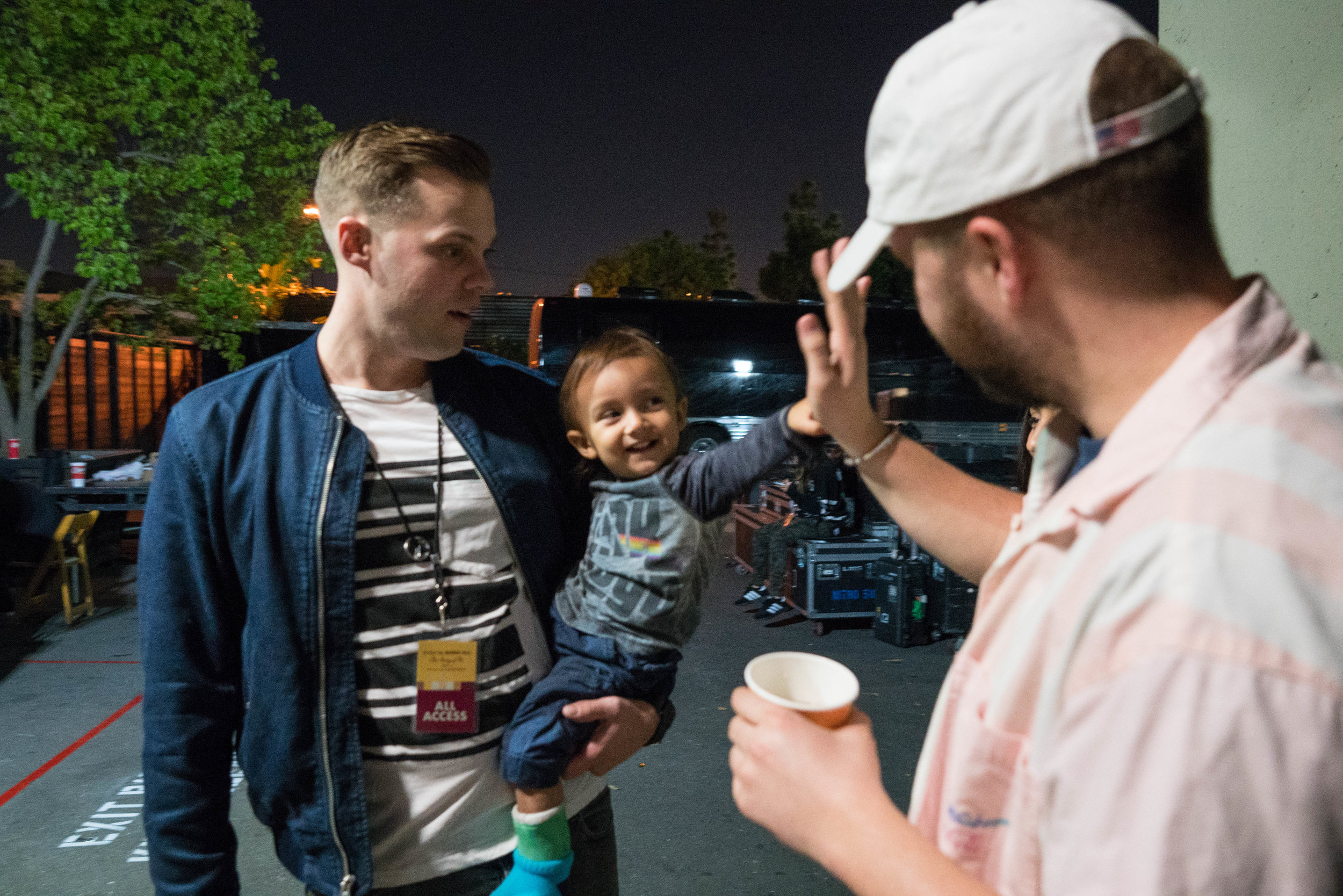 Quinn meeting his key players, son, Riley. 2018