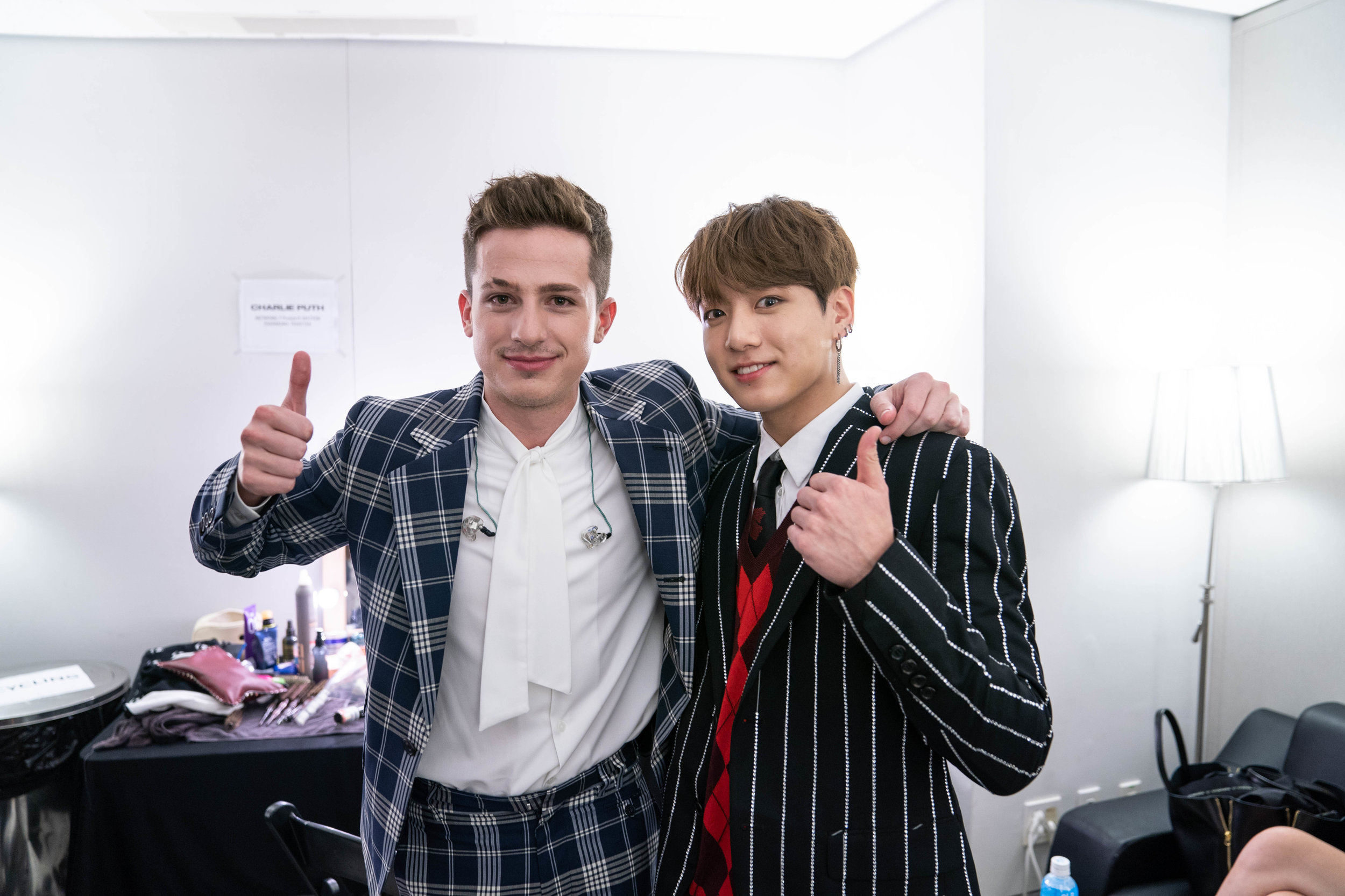 Junkook and Charlie before their performance in Seoul, 2018