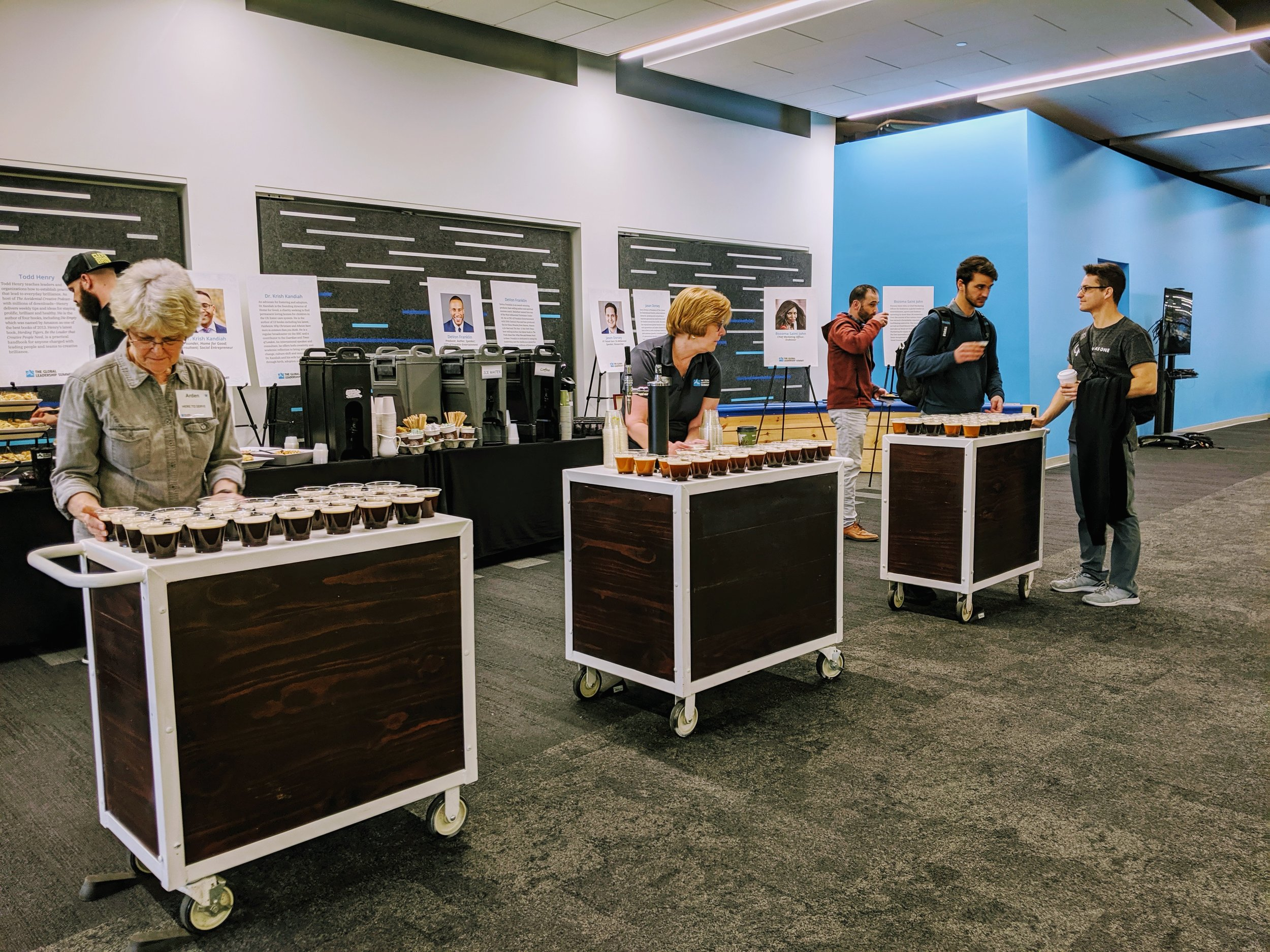 Our Cold-Brew Catering is a versatile drop-off/pick-up catering option that is perfect for large groups needing service in a short time-frame.
