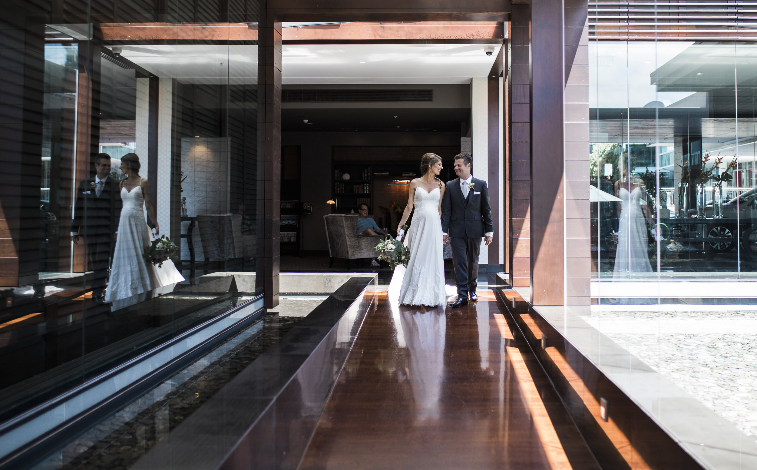 Sofitel Auckland wedding photo of bride and groom