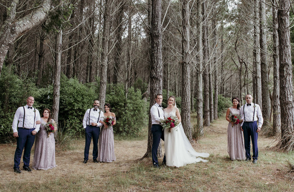 Bridal party wedding photo at Leadfoot Ranch