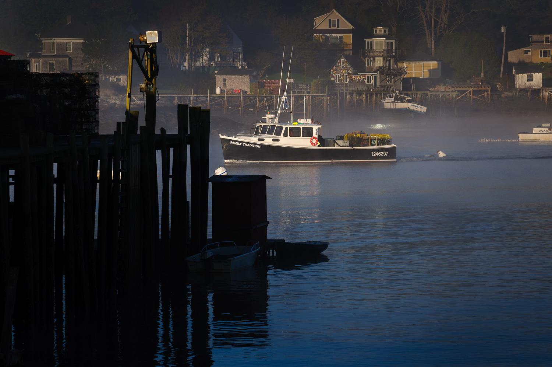 Foggy morning at Bass Harbor