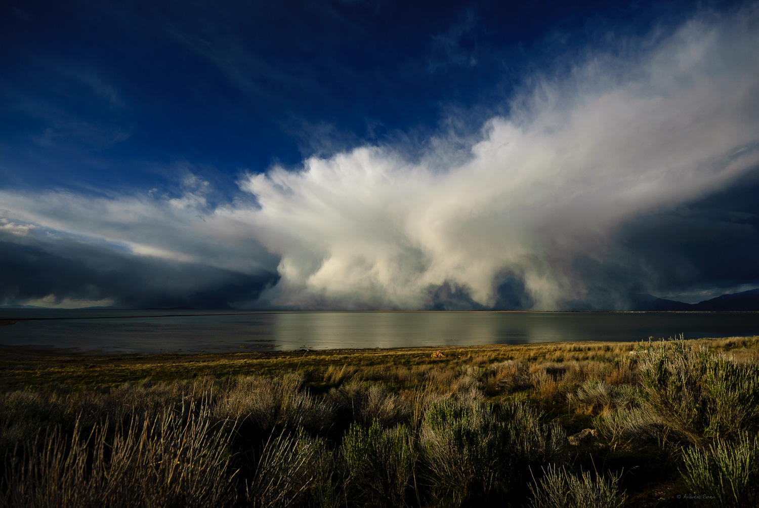 Storm cloud over the Great Salt Lake, Utah