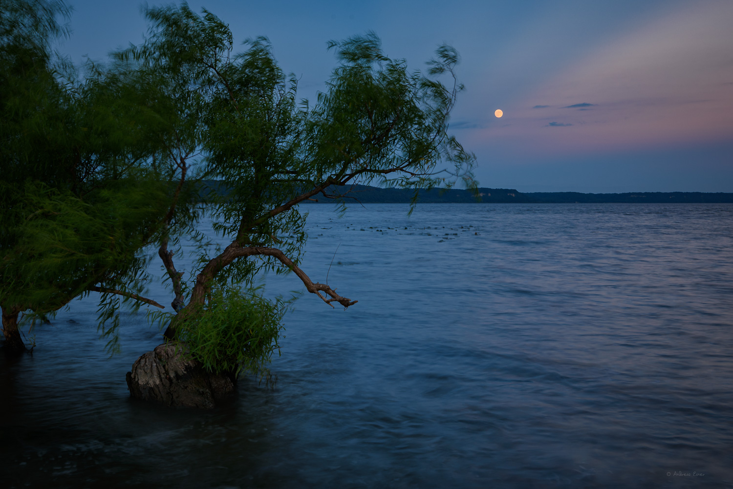 Moon over the river, Potosi, Wisconsin