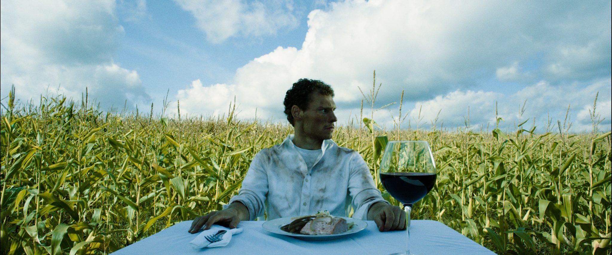 #AnAmericanDream star Jake Croker,surrounded by corn.