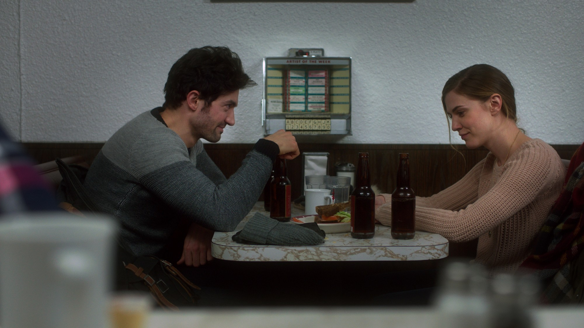 David Alpay and Sara Canning in a scene of Prodigals. (Photo: LevelFilm)