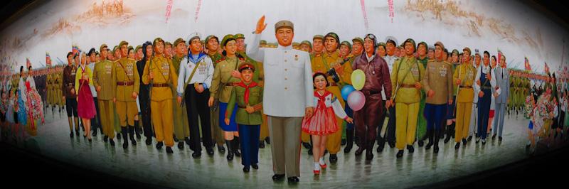 Massive mural in Pyongyang depicting Kim Jong Sung