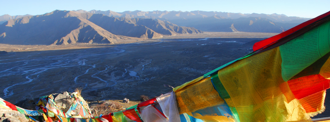 View of the valley from Wangbur Mountain near Ganden Monastery
