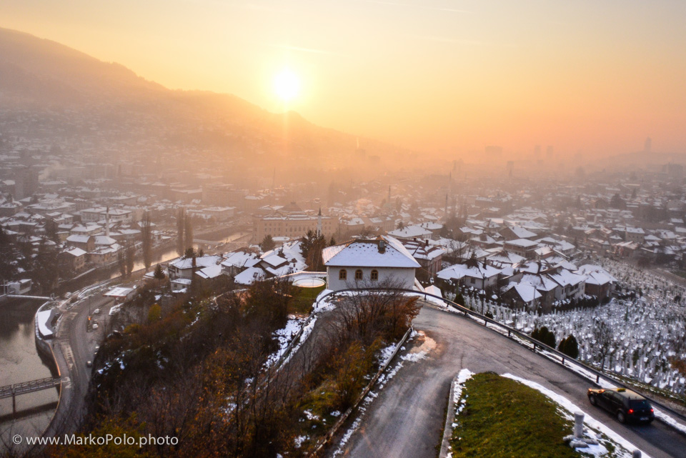 Bosnia & Hercegovina (2) - Sunset over Sarajevo with cemetery all around from the war