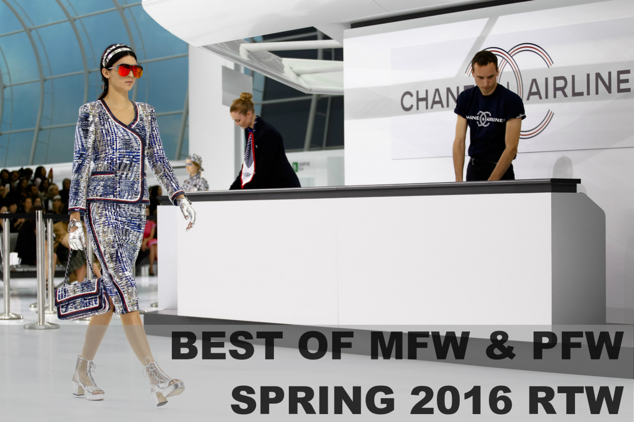 Best of MFW & PFW Spring 2016 Ready-to-Wear   You either spent this past fashion month being sad about not being able to attend the shows and presentations you were invited to or just following every fabulous collection's release online - I did a bit of both. A few weeks ago I did a roundup of my faves from LFW and NYFW and now it's time to curate my favorites from Milan and Paris. This season's shows were absurdly beautiful and some are even shoppable if you want to get a head start on your spring wardrobe. Keep reading to see my personal highlights from MFW and PFW!   Milan Fashion Week Spring 2016 Ready-to-Wear    Dolce & Gabbana  Look 20 |  Embroidered Lace Short A Line Dress $9500      Giorgio Armani  Look 48     Giamba  Look 12 |  Long Sleeve Sheath Mini Dress With Flower Applique $4350      Fendi  Look 7     Versace  Look 22 |  Silk Chiffon Shirt $1295      Roberto   Cavalli  Look 31     Fausto Puglisi  Look 34 |  Shell Embellished Bra Top $13120      Alberta Ferretti  Look 55 |  Woven Chiffon Gown $2945    Paris Fashion Week Spring 2016 Ready-to-Wear    Louis Vuitton  Look 1     Alexander McQueen  Look 39     Chanel  Look 57     Nina Ricci  Look 10 |  Lavender Smocked Georgette Dress $4450      Balmain  Look 36     Lanvin  Look 14     Giambattista Valli  Look 15     Carven  Look 13 |  Crepe Eyelet Dress $950    It was so hard to pick my favorites but those are the bulk of them! I think my favorite shows in general were Dolce & Gabbana, Giamba, Chanel, and Alexander McQueen. Comment down below which shows and looks from Milan and Paris were your favorites! And if your bank account can't handle pre-ordering any of these looks, treat yourself to a post-fashion month gift from  Anarchy Street  with my 20% off discount code  YNA20 . Thanks for reading ♥  xoxo Yna   Bloglovin'  |  Facebook  |  Instagram  |  Twitter  |  Pinterest  |  Lookbook  |  Polyvore