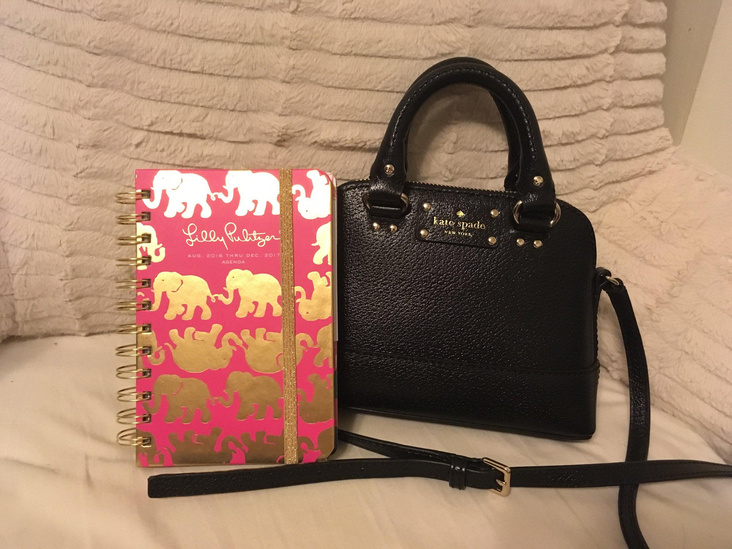 Lilly Pulitzer agenda Kate Spade bag