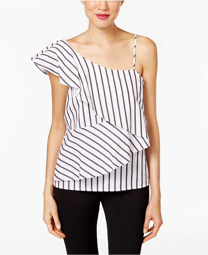 Marled One-Shoulder Tiered Blouse -