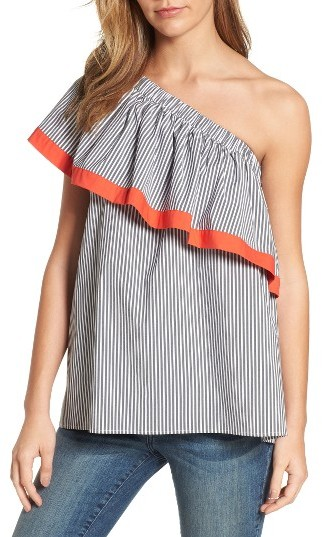 Vince Camuto Ruffle One-Shoulder Blouse -