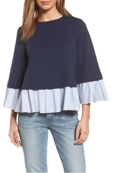 Halogen Mixed Media Swing Top - I'm so in love with the feminine ruffle detail on this top! It also comes in black and heather grey. Sale: $45.90 After Sale: $69.00