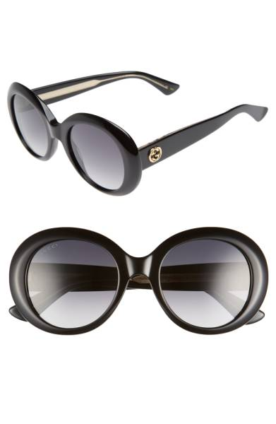 Gucci 51mm Gradient Lens Round Sunglasses - These sunglasses are soooo chic!The thick rounded frames will make you look so glamorous - it reminds me of sunglasses Jackie O would have worn or something Anna Wintour would wear, but it's less severe looking since it's very rounded. Sale: $293.90 After Sale: $440.00