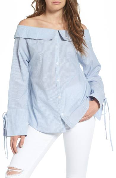 BP. Portrait Collar Cotton Top - One of my favorite off the shoulder tops has a collar like this and I think it's such a chic menswear inspired look but still very delicate and feminine because of the off shoulder silhouette. Highly recommend this top! Sale: $29.90 After Sale: $45.00