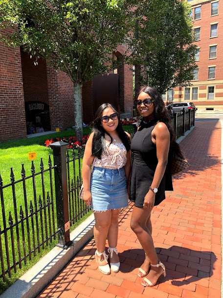Brunch in the South End with my friend Tina  Wearing Balenciaga sunglasses,  Madewell  skirt, and Castañer espadrilles with Madewell top