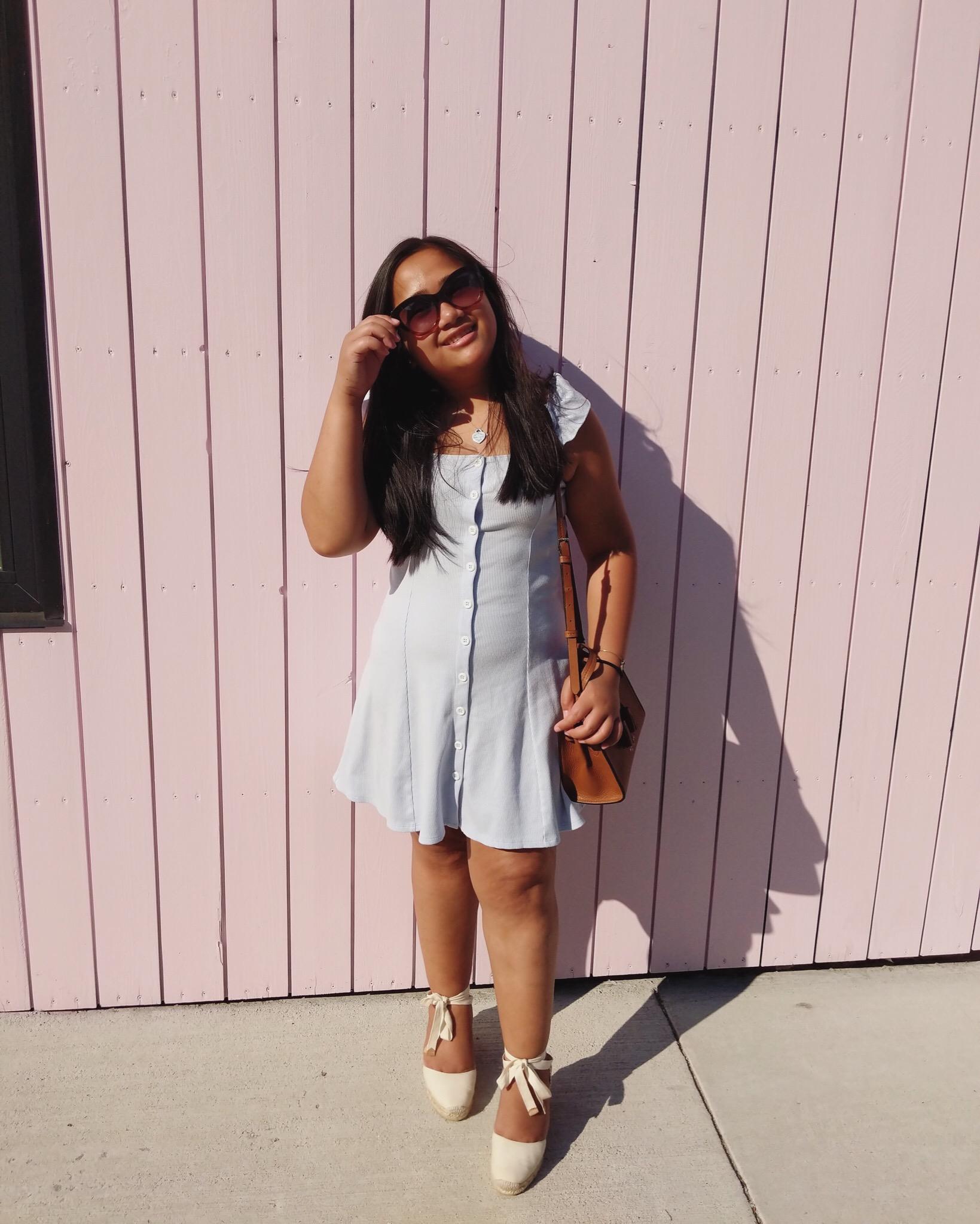 wearing:   Balenciaga  sunglasses ,   Kate Spade  bag ,   Castañer  espadrilles , old Forever21 dress