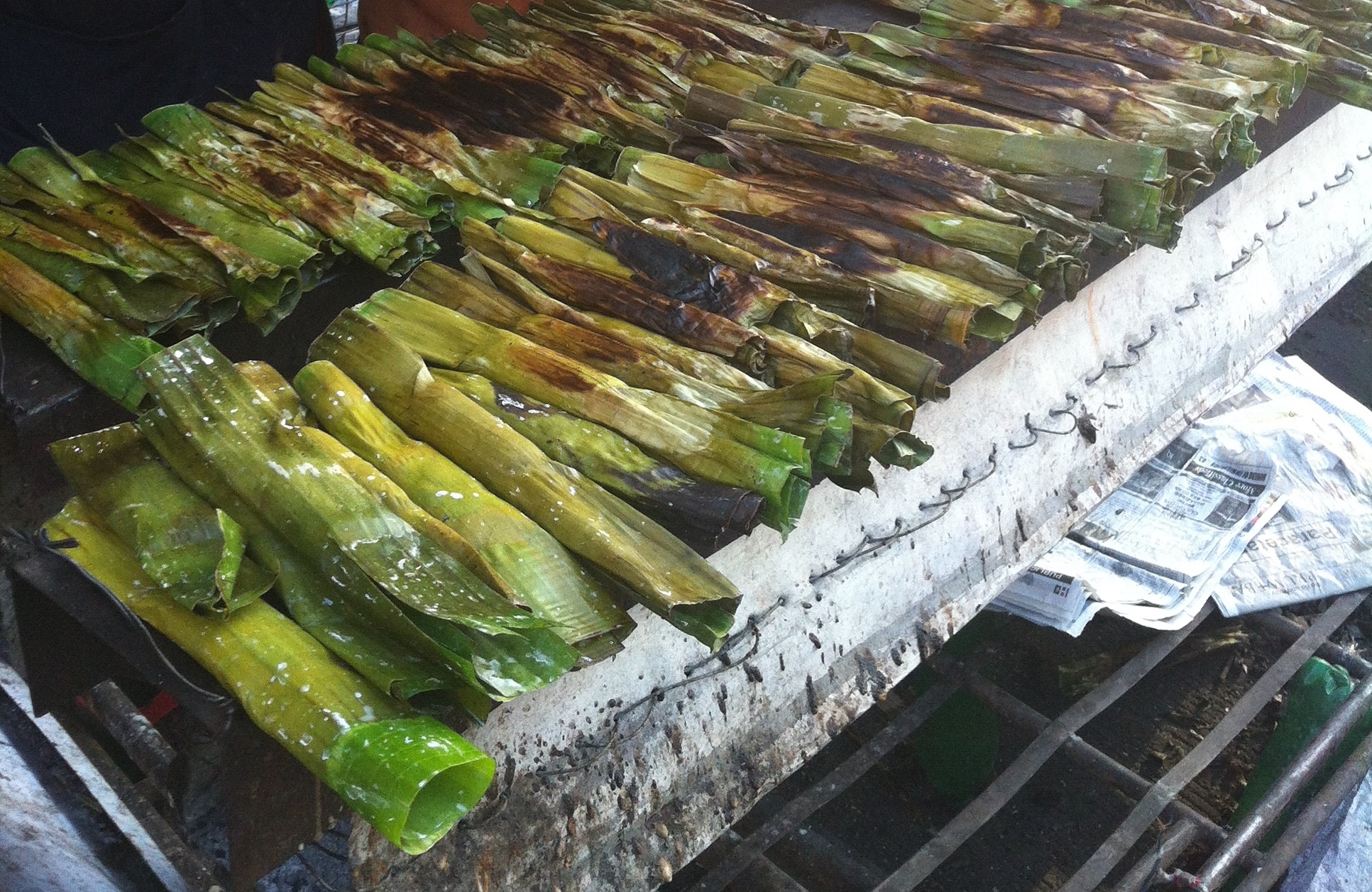 Bikol: a treat of grilled coconut rice (i think). Super yummy.