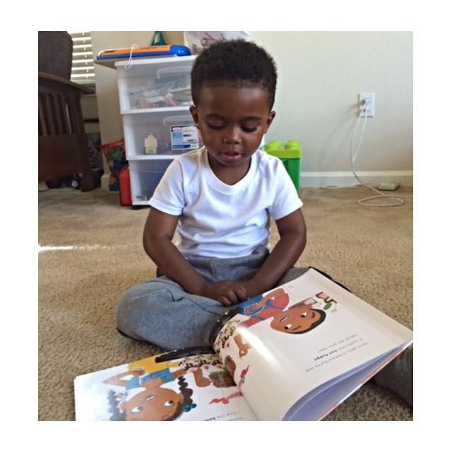 Brian Spear's son enjoying his copy of #BeautifulBeautifulMe