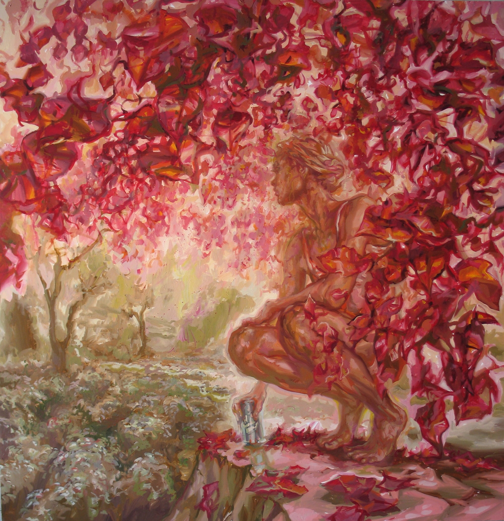 "Red Leaves  66"" x 64"""
