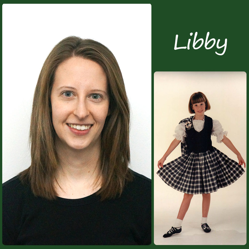 Libby   SoS Title: Secretary/Dancer  Started Dancing: Age 6  Favorite Dance Memory: Winning my first (and only) trophy! My teacher wasn't at the competition so I called her during the car ride home. She was so excited for me that she spent the evening calling all of  her  family members to share my good news!  Fun Fact: I spent several summers during and after college working on organic farms harvesting veggies and chasing pigs!