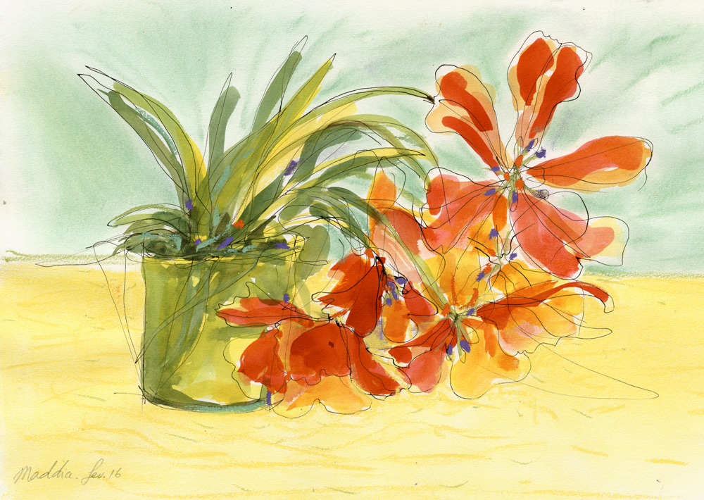 L'émotion des couleurs flamboyantes de ces tulipes dont les tiges ploient sous le poids des énormes pétales, croquis encres et craies, format 42x30 cm, ( copyright ADAGP )