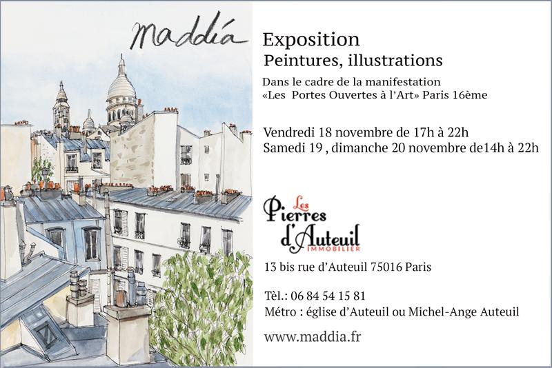 J'ai le plaisir d'exposer dans le cadre des Portes Ouvertes à l'Art , Paris 16eme, je suis accueillie cette année dans l'agence immobilière Les Pierres d'Auteuil. Les artistes ouvrent leurs ateliers tout le week-end, venez nous rendre visite!