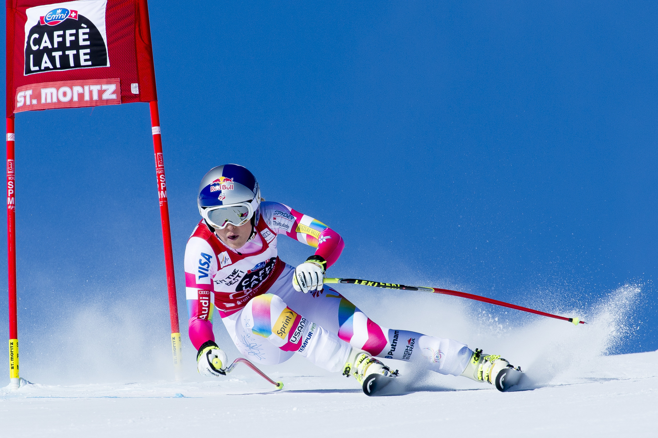 Lindsey Vonn during the FIS Ski Worldcup downhill race in St. Moritz, Switzerland on 24. January 2015.