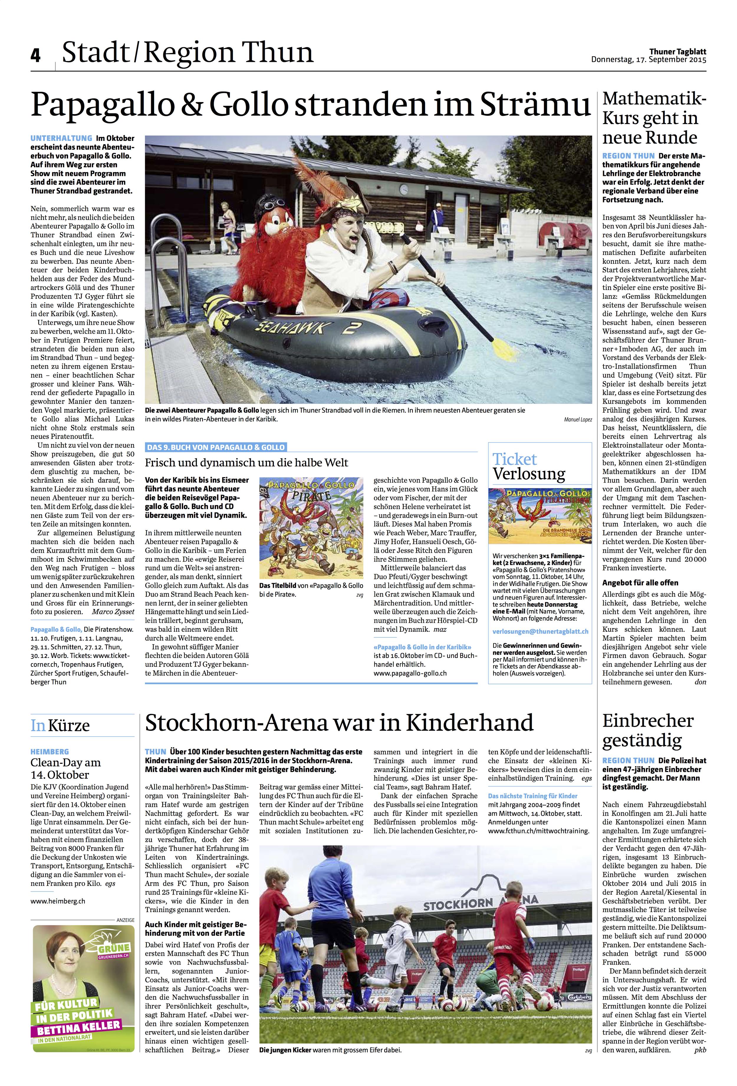 Thuner Tagblatt vom 17.09.2015