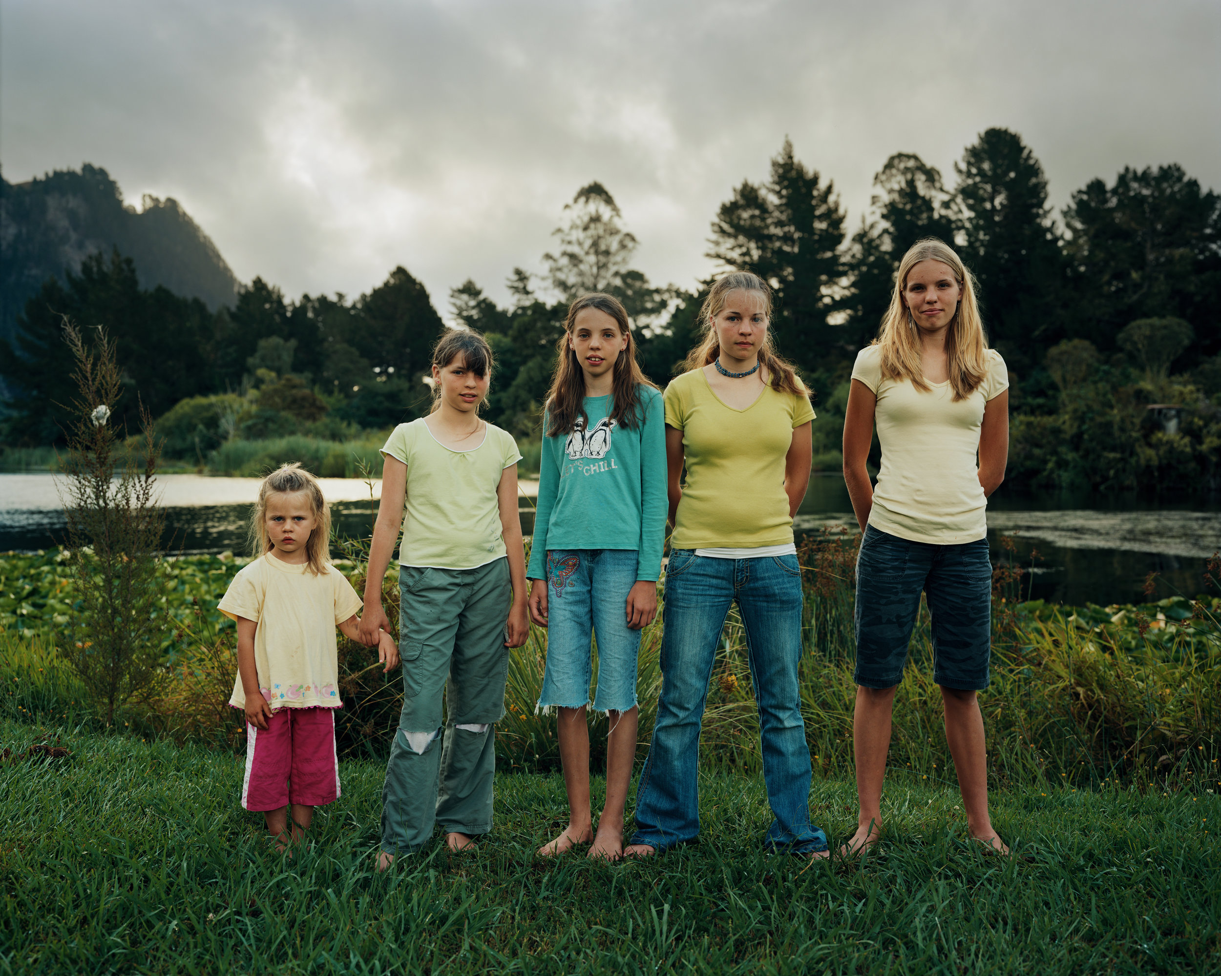 Kate, Charlotte, Emily, Victoria and Sarah Drinnan, Lake Whakamaru, Waikato, 2008. From the book Mercy Mercer 2009.    J.M:  Is there a project you're working on at the moment you can talk about?    D.H:  I'm working on a series about people's homes. They are mostly very humble abodes but the owners have taken particular care of something small you might miss if you didn't take a closer look. It's in the details. I also like what appears at first to be repetition.