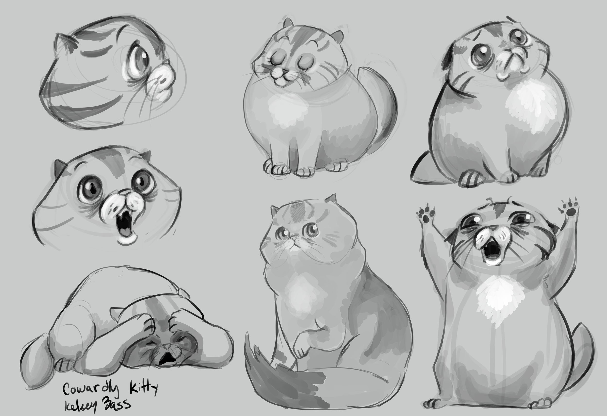 Cowardly Kitty digital sketches