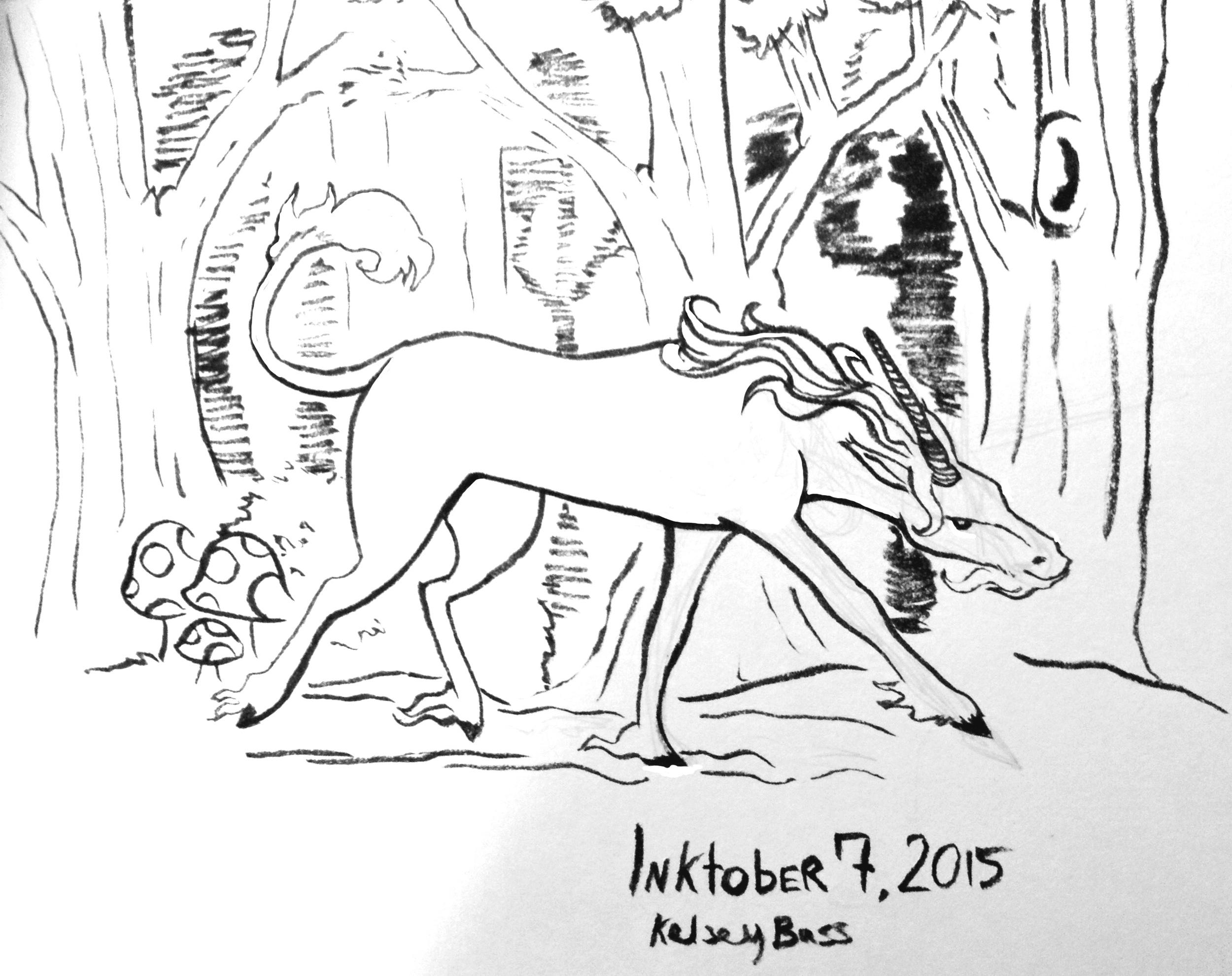 Inktober 7, 2015 I needed to draw some unicorns.