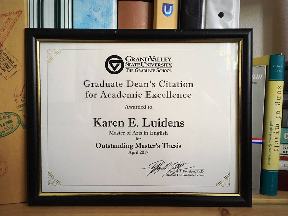 Graduate Dean's Citation for Academic Excellence for Outstanding Master's Thesis Apr 2017