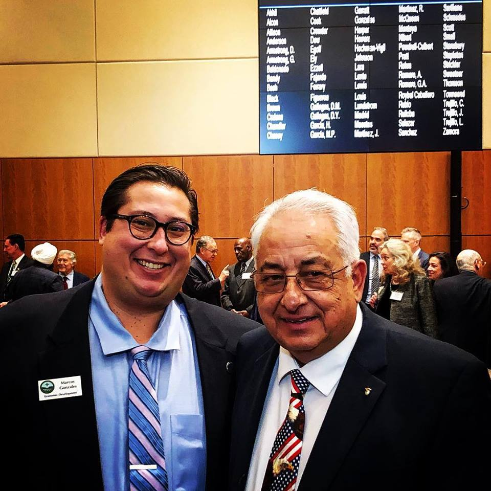 Marcos with his dad on opening day of the New Mexico legislature, January 15, 2019.