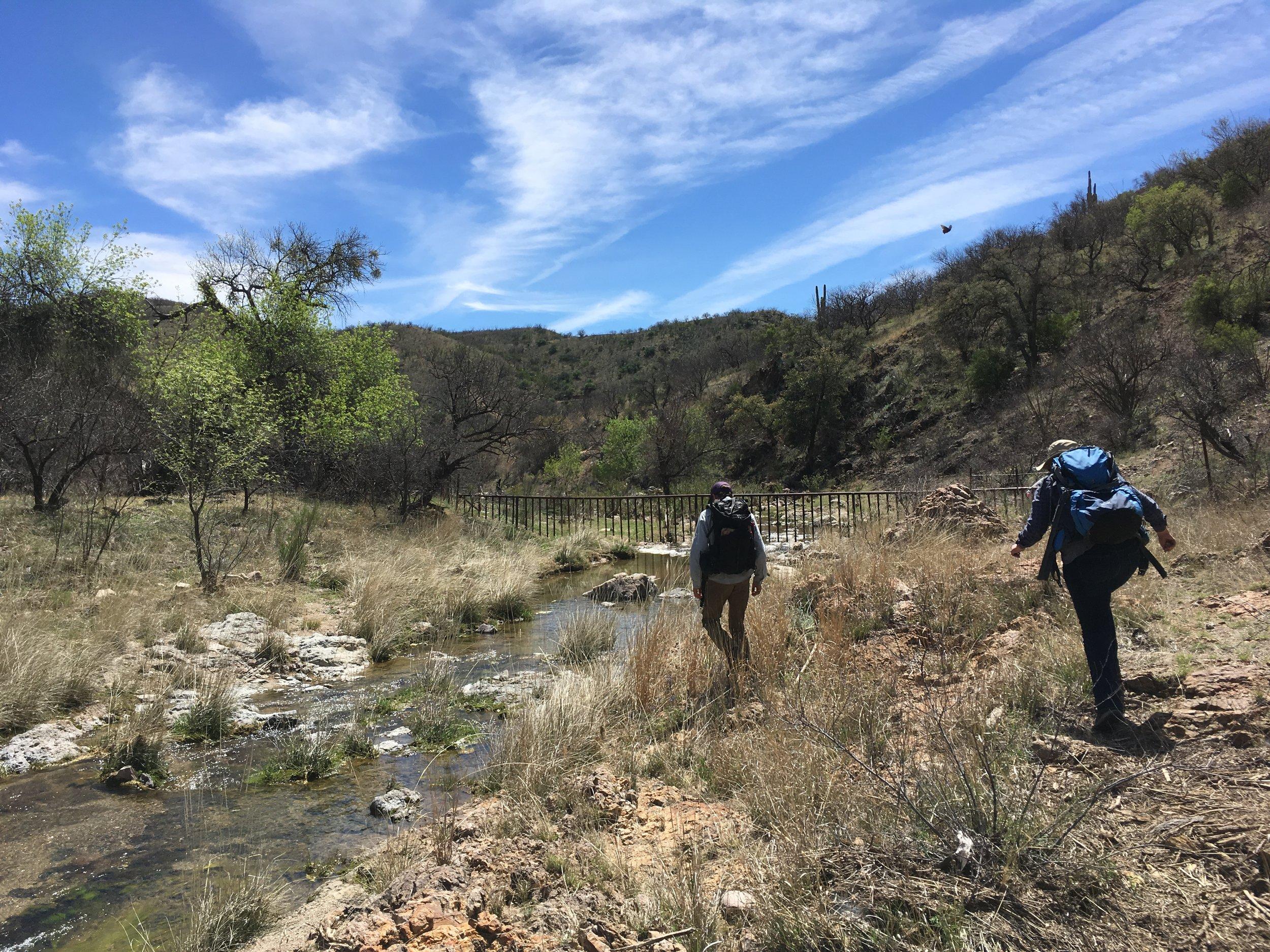 Walking near the border's vehicle barrier