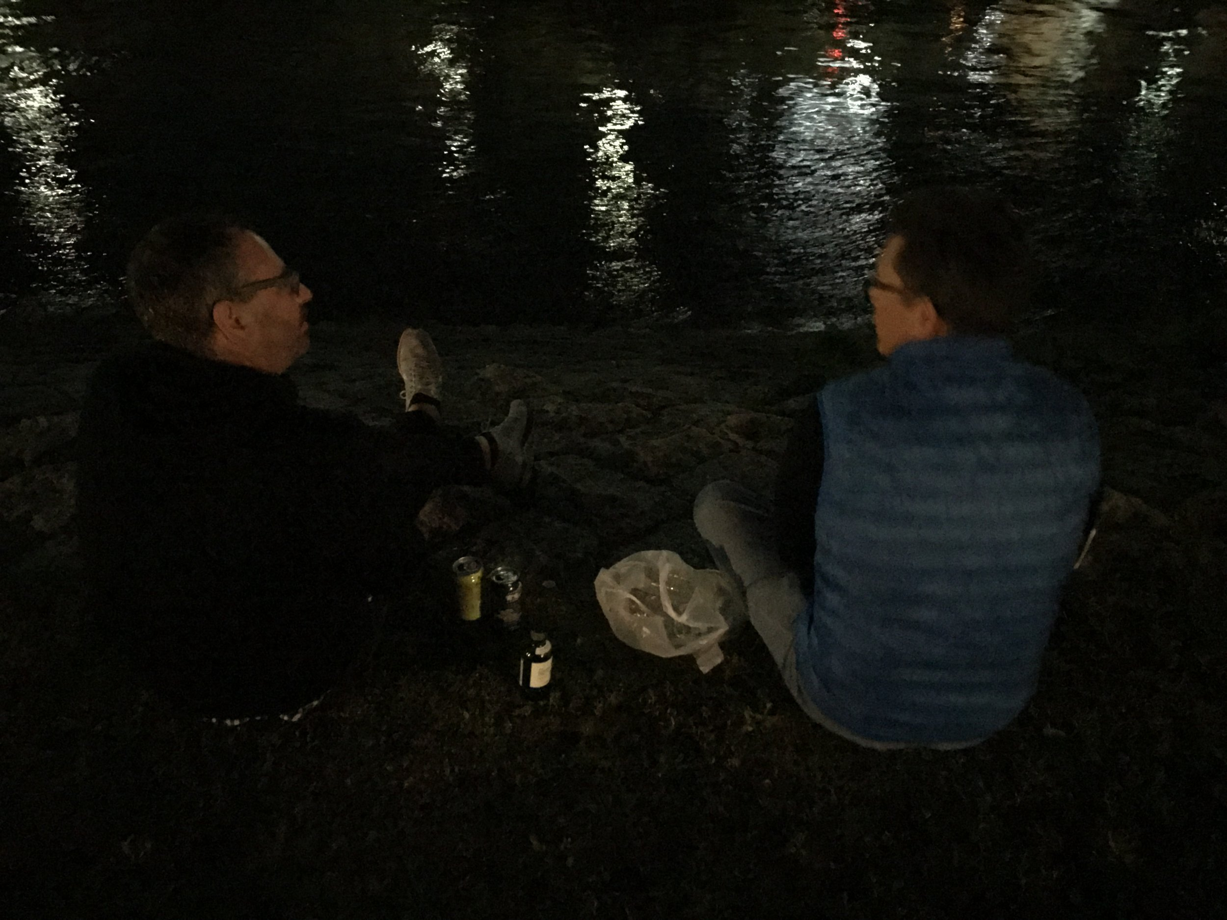 later that evening ... dave shows us what the natives do at night. cuddle up along the river, under the stars, and chat with local beverages in hand.