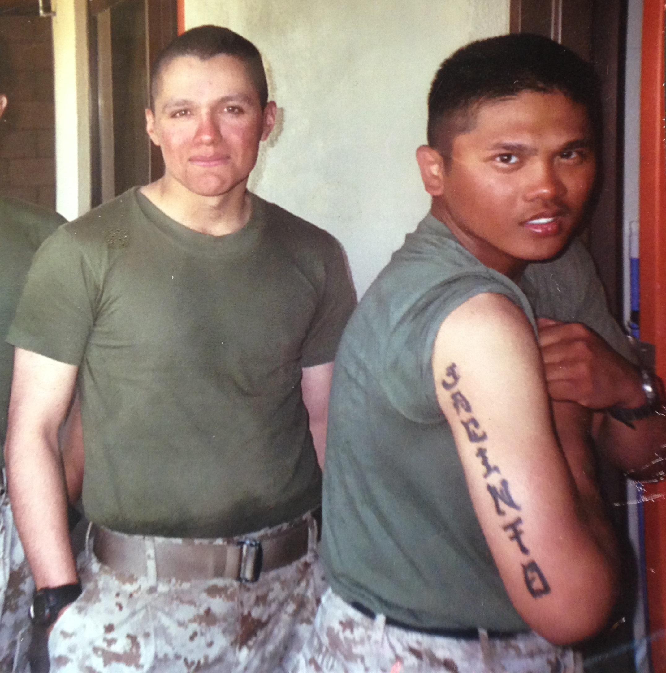 Oscar Garza (left) and Aaron Jacinto. Twentynine Palms, California. 2005. Photographer Unknown
