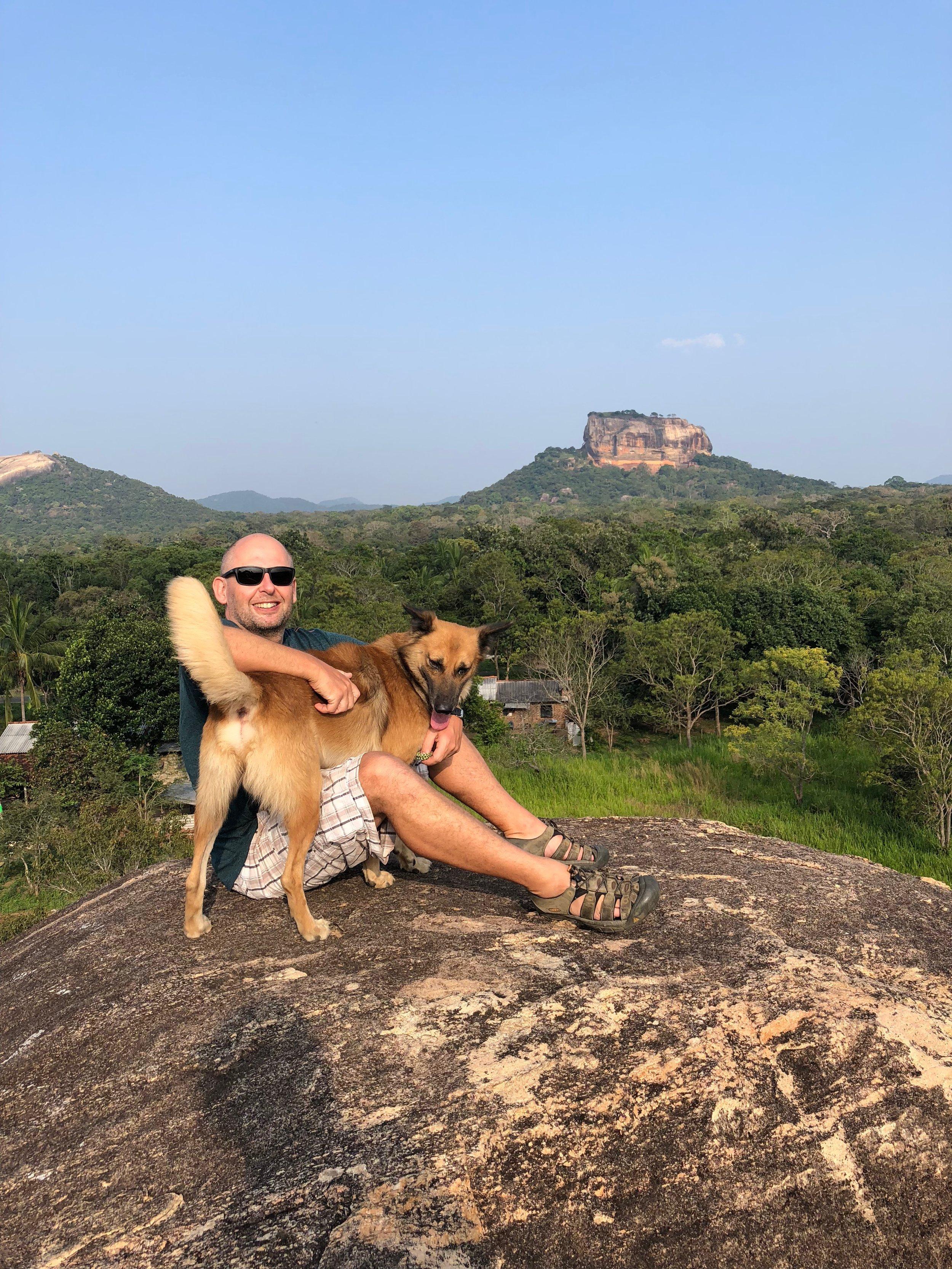 Jerry and Rex enjoying the sunset view of Sigiriya