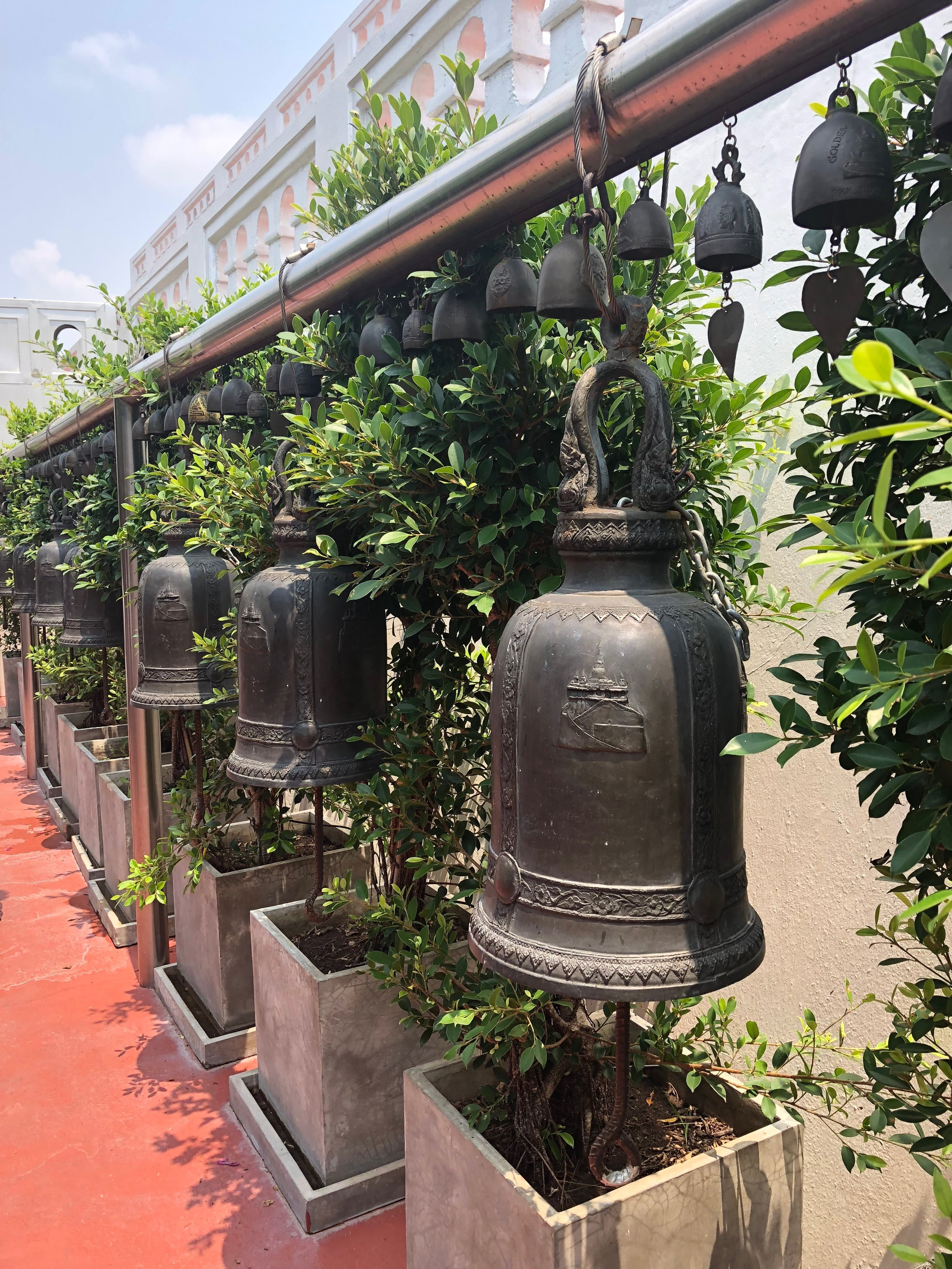 Beautiful bells everywhere at the Golden Mountain Temple
