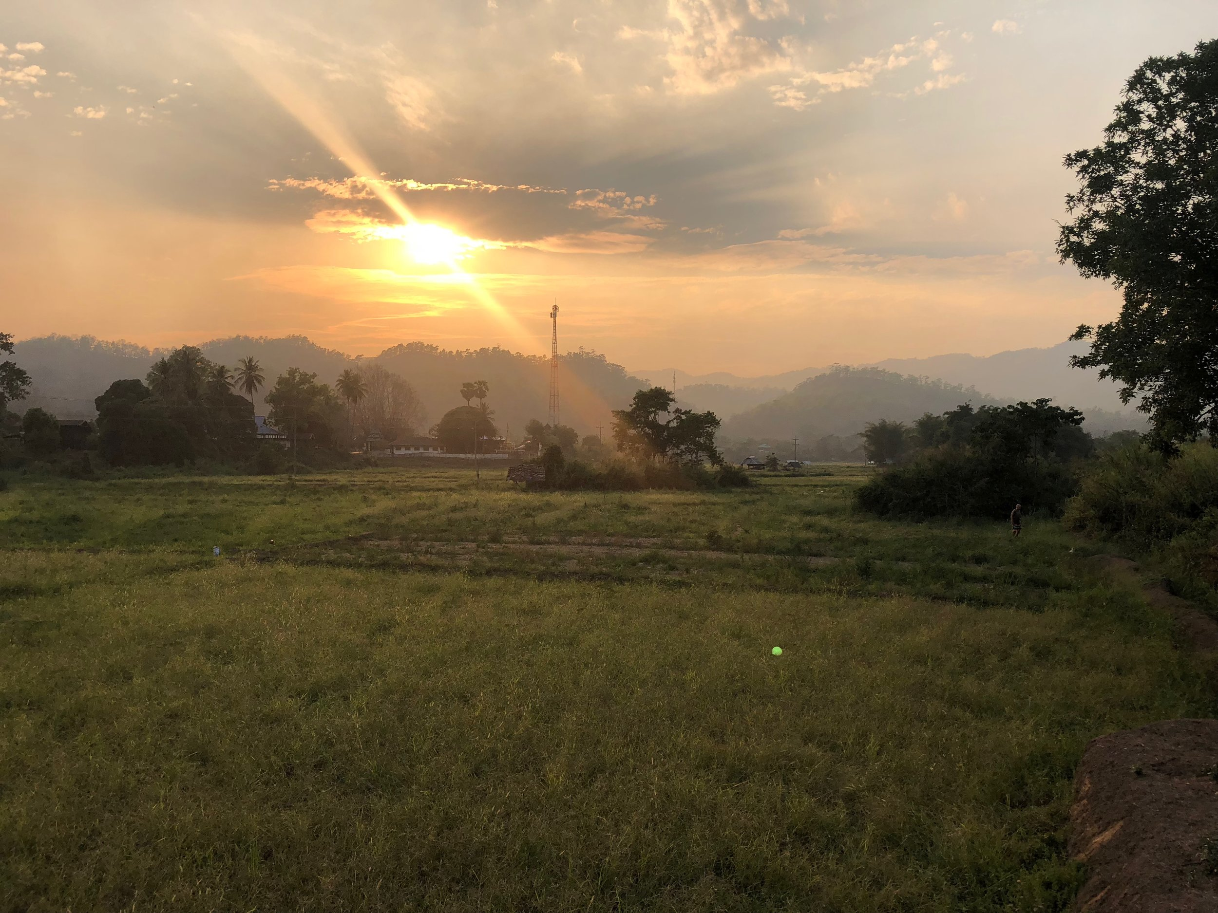 Sunset over the rice fields....