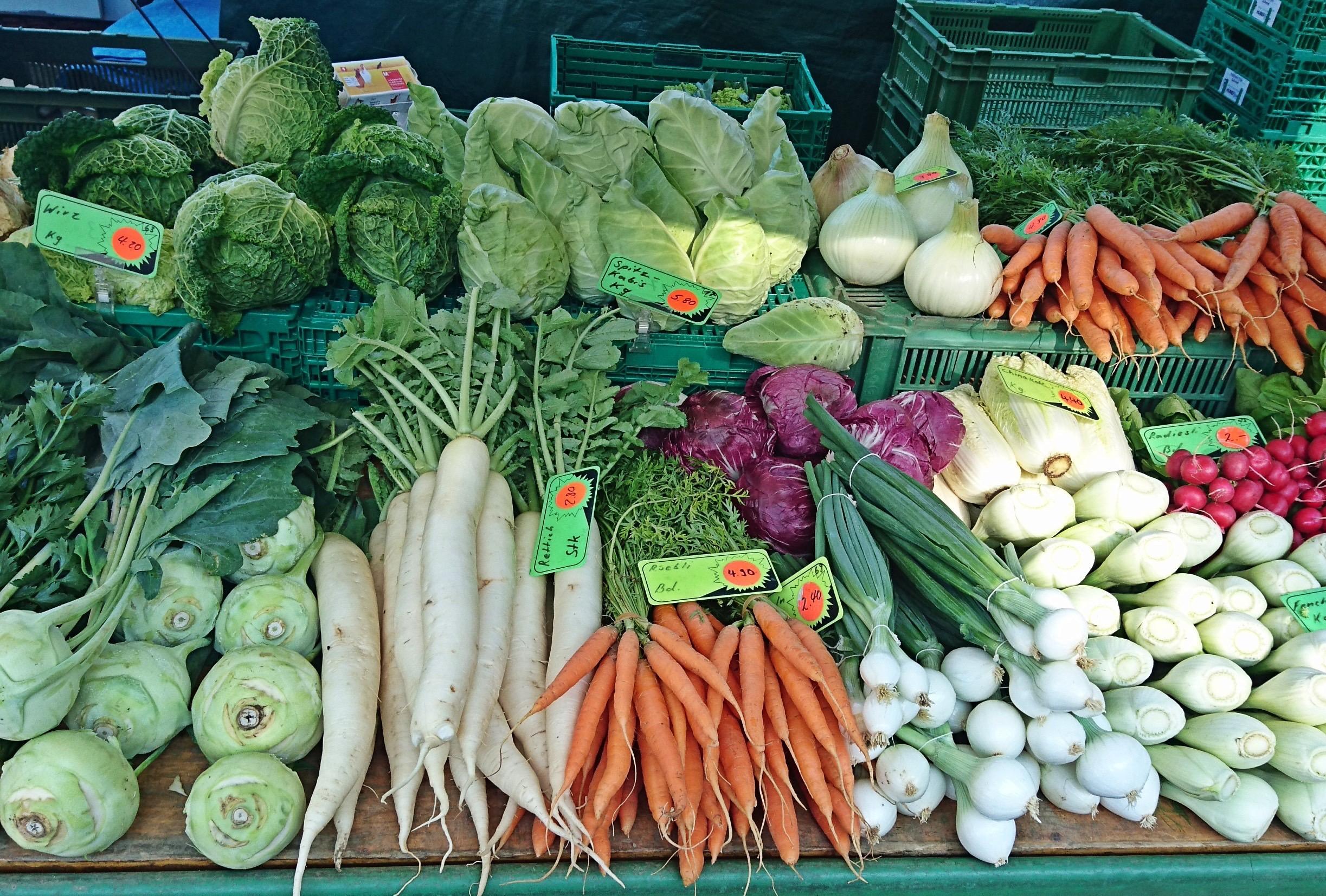 Direkt vom Markt ist das Gemüse am frischesten