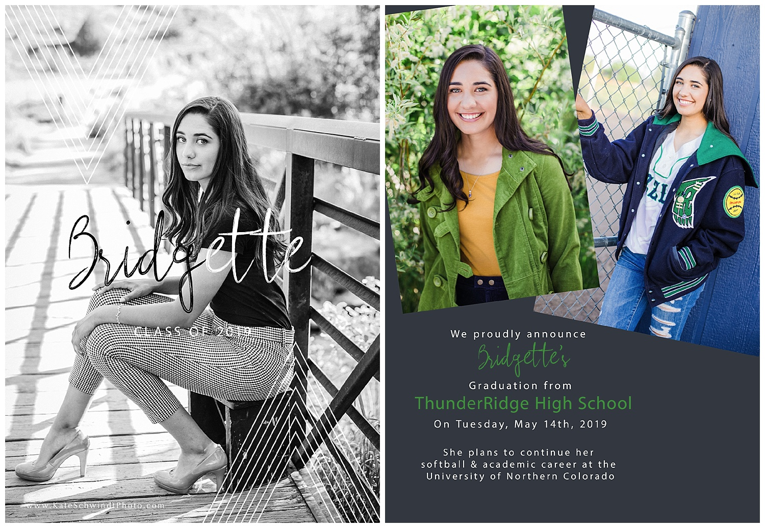 The front (black and white) and back of Bridgette's graduation announcement!