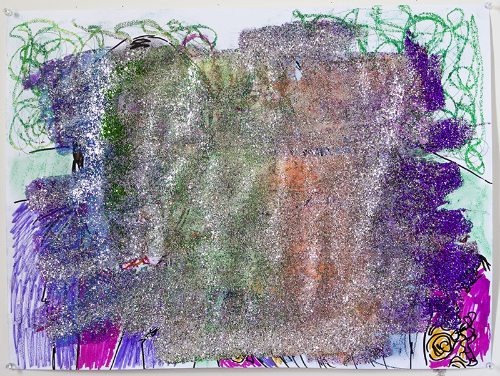 """UNTITLED, 24""""x18"""", marker, chalk pastel, oil pastel, colored pencil, crayon, and glitter on paper, 2015."""