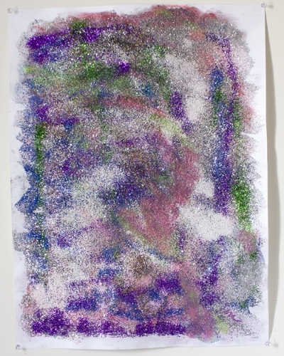 """THIS IS A DREAM, 18""""x24"""", chalk pastel, oil pastel, crayon, colored pencil, and glitter on paper, 2015."""