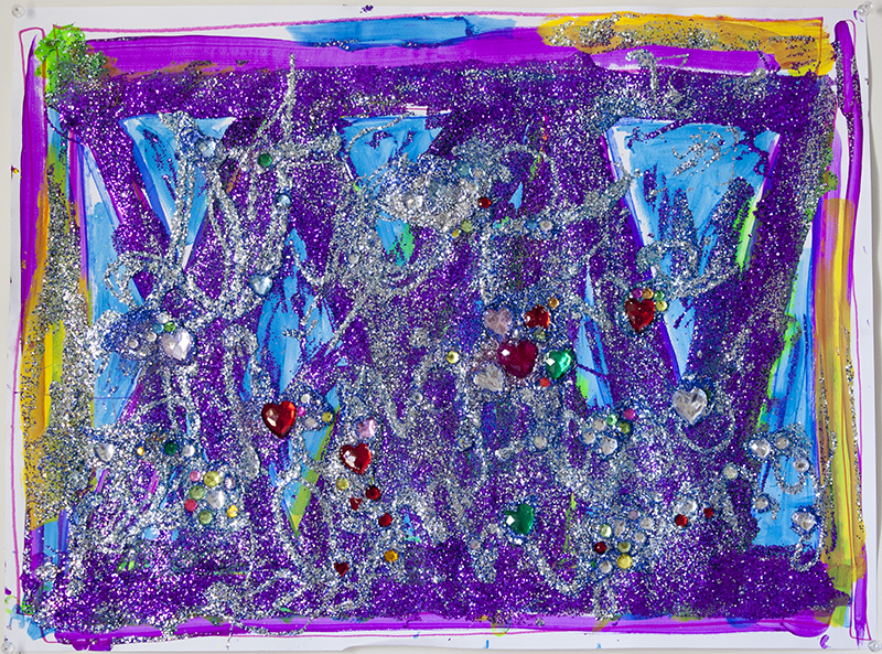 """ONLY, 24""""x18"""", marker, acrylic, glitter, and rhinestones on paper, 2015."""