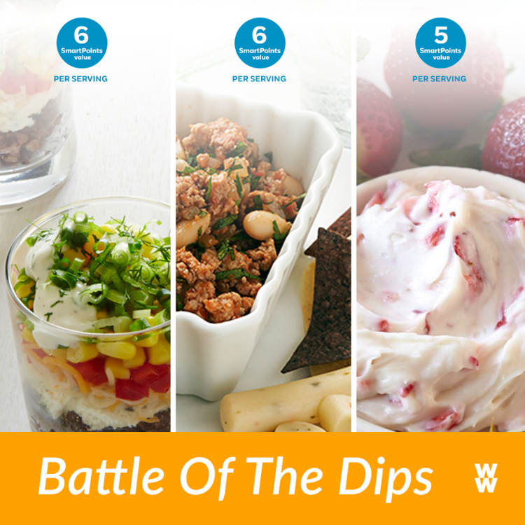 """Hey  #WWFam , it's battle time! We're not talking about basketball but your favorite watch-party dips. Try each and comment below with a dip selfie to cast your vote. See which dip will come out on top!"""