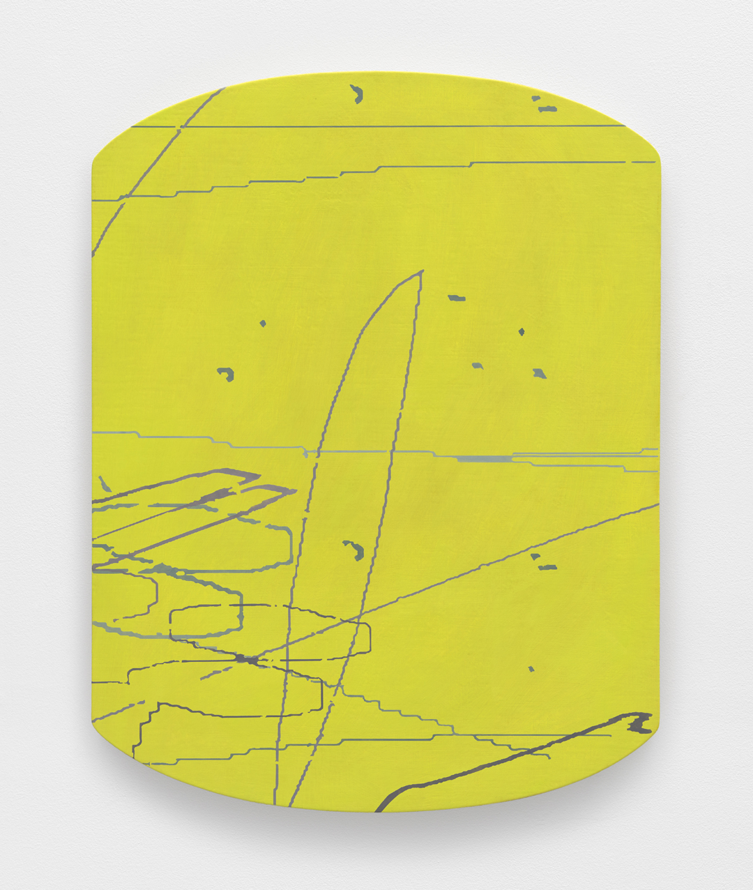 "Variation: Carta I,  2014 Oil on linen on shaped panel 27"" x 20 ¾"" x 2"""