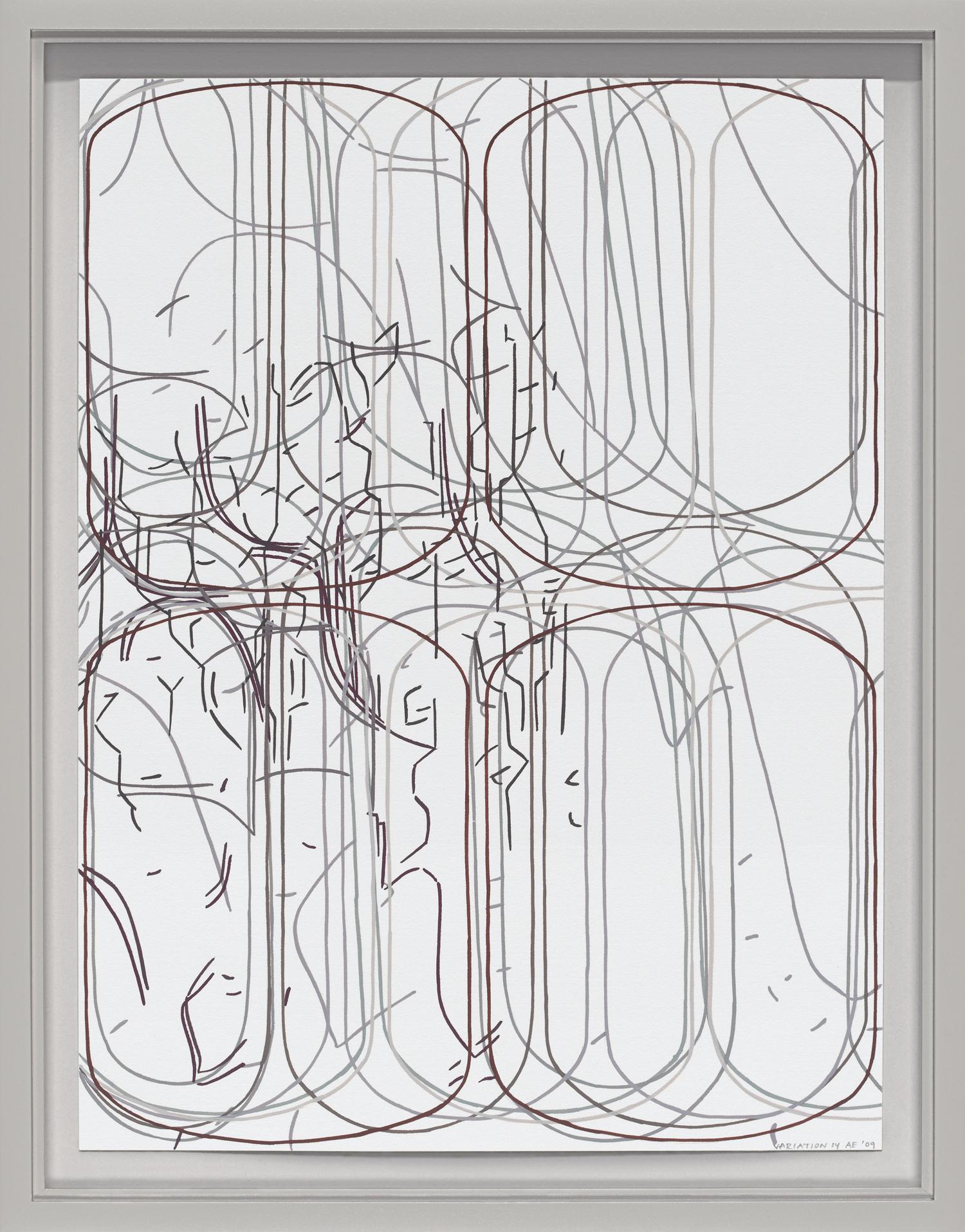 "Variation No. 14, 2011 Gouache on Rising Stonehenge paper 12"" x 9"" (13 ¾"" x 10 ¾"" framed)"