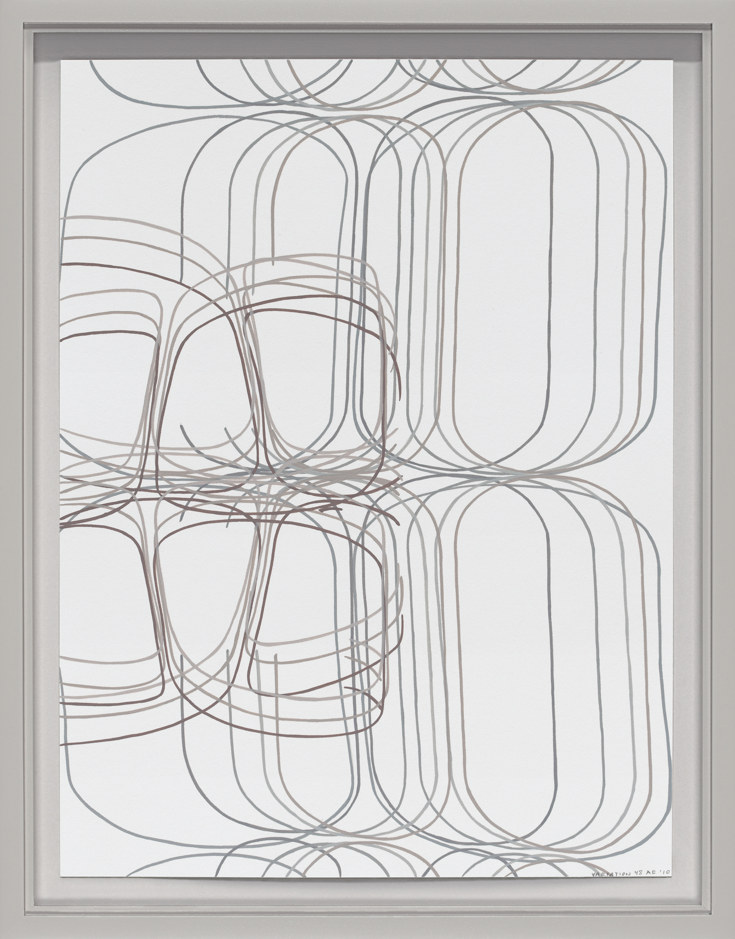 "Variation No. 48, 2011 Gouache on Rising Stonehenge paper 12"" x 9"" (13 ¾"" x 10 ¾"" framed)"